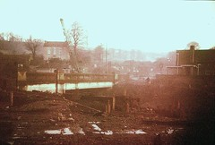 1960s Stapleton - Bridge Farm from across Stapleton Bridge, demolition of walls etc (emmdee) Tags: bristol demolition 1970s slides m32 eastville stapletonroad eastvillepark 13arches