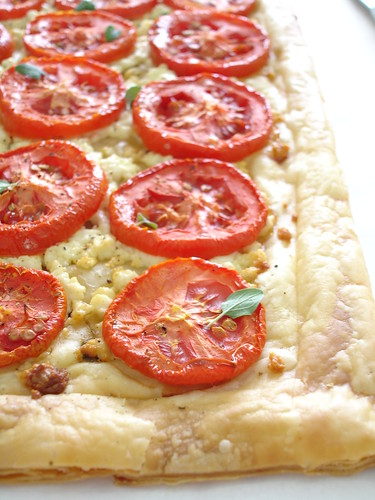 Roasted tomato and goat's cheese tart with fresh oregano