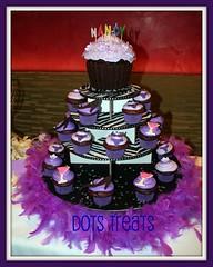 Nancy's Cupcake Cake & Cupcakes on Tiers (Dots Treats Cupcakes) Tags: birthday shoe cupcakes purple miami feather boa bikini zebra cosmo tiers louboutin partycupcakes couturecupcakes miamicupcakes customcupcakes fabulouspicnik ftlauderdalecupcakes bocaratoncupcakes