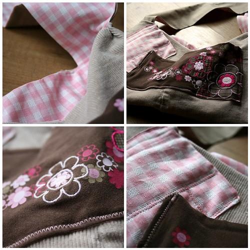Tasche braun-rosa mosaic