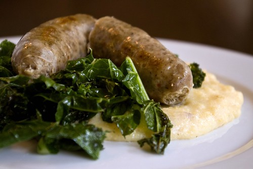 Cajun-style sausage with kale greens and maple bacon polenta