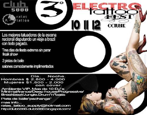 Tercer Electro Tattoo Fest Cuándo? 10,11,12 de Octubre