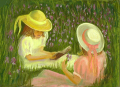 Two girls reading (mamalunacrochet) Tags: livejournal