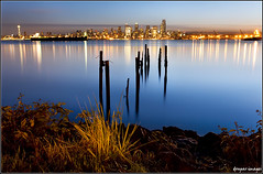 SEATTLE LIGHTS for SEATTLITES (donpar) Tags: seattle wood light sky plants cold reflection tower beach water field grass marina docks sunrise canon reflections boats lights pier washington still construction rocks long exposure downtown waves skies ship glow pacific northwest space ships pillar shoreline columbia needle shore alki safeco wait shrub rise quest chill westin seattlites donpar donparimages