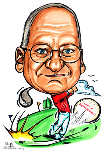 Golfer caricature for AP Chartering