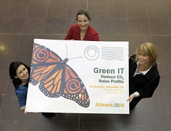 Catherine Wall and Alison Reilly it@cork, pictured with Gemma Kelleher of the Irish Examiner launching the Green IT conference