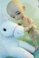 Baby and Unicorn (EvilAngel (Milk&Strawberries)) Tags: sleeping coco miel bjd dollfie tanned latidoll verdeacqua lati