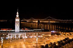 Say Hello On A Night Like This (Jeremy Brooks) Tags: sanfrancisco california city bridge reflection water night lights baybridge embarcadero ferrybuilding blogged photowalk20080227