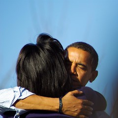 husband and wife (zyrcster) Tags: colorado pueblo campaign democrats obama barackobama whoweare yeswecan election08 obamarally michelleobama pfogold phlow:emote=hug nyt:person=47452218948077706853