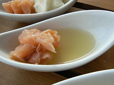 saumon mariné à l'huile de mandariine