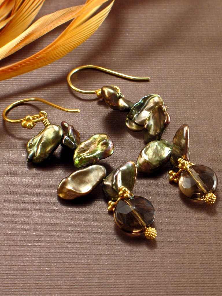 Climbing the Vine Earrings - Keishe Pearls, Smoky Quartz & Vermeil