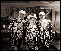 Pearly King, Queen and Prince of Finsbury (buckaroo kid) Tags: uk england london pub suits karaoke outfits madhatter londonist cockneys pearlykingsandqueens explore496 pearlykingoffinsbury