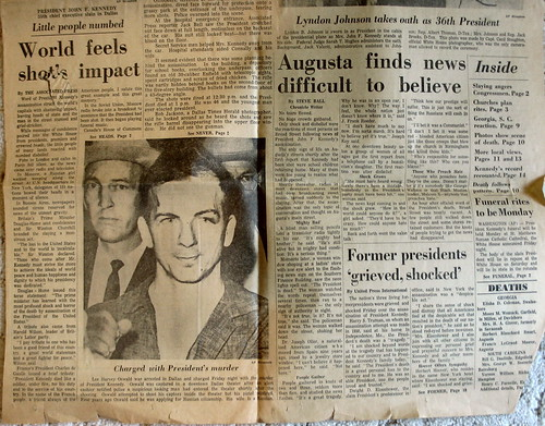 World Feels Shots Impact, shot of vintage copy of The Augusta Chronicle, November 23rd, 1963, Augusta, Georgia, photo © 2008 by QuoinMonkey. All rights reserved.