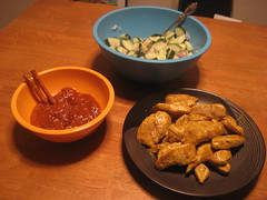 Chicken satay with peanut sauce and cucumber salad