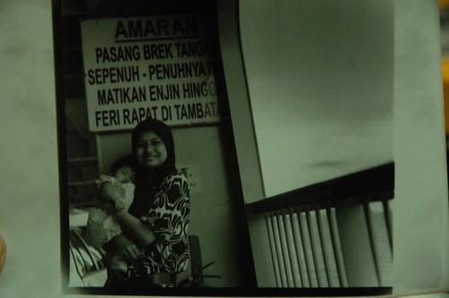My wife and daugter (Orked) atas ferry Penang nak pegi georgetown dari Butterworth.