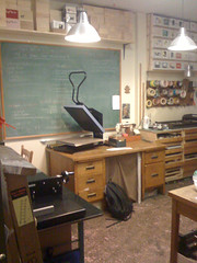Classroom (Kris Krug) Tags: wood color art lights wooden chalk floor room ceiling teacher tape backpack tables boxes ladder teaching lesson press chalkboard teach tapes cutter artclass greenboard coloredtape