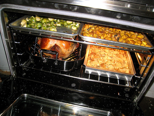 Everything in the oven cooking