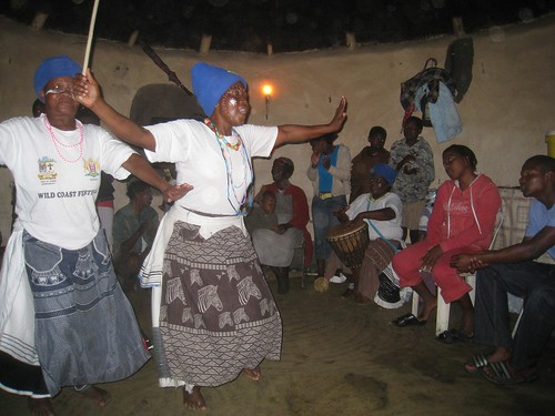 Traditional song and dance by Xhosa villagers