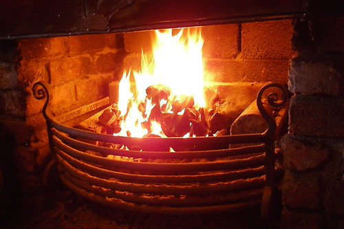 pub fireplace with a peat fire