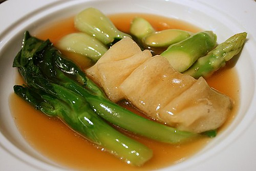 Braised Dry Scallop with Sea Cucumber and Bamboo Pith