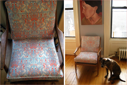 Spoonflower reupholstered chair