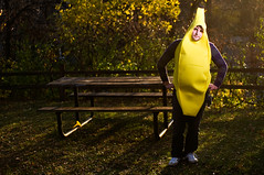 Silly Banana (JulesAmeel) Tags: park musician halloween minnesota bench costume nikon bokeh minneapolis banana alienbee f28 lightroom 2880mm d300 purevolumecom beautydish stobist ab800 jamestownstory julesameel