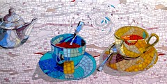 Tea Break (Irit Levy - Mainly art) Tags: stilllife glass tea mosaic cups whiteswirls iritlevy
