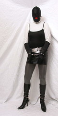 6425 (blackknot100) Tags: white black grey tv boots cd bondage crossdressing gloves heels masked collar bound miniskirt pantyhose crossdresser handcuffs chained gagged restrained legiron