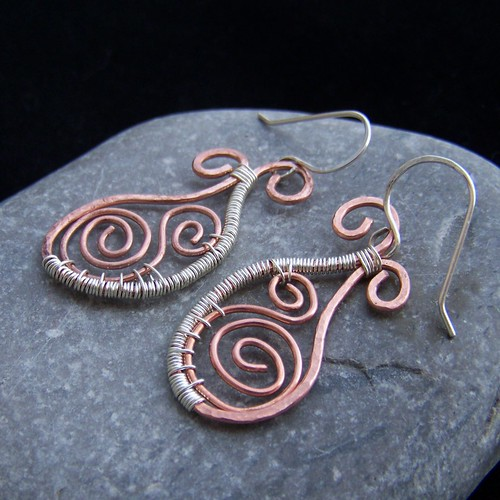 Sterling silver and copper hammered earrings