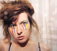 I just hide behind the tears of a clown. [145/365] (Angela Mary Butler) Tags: blue red selfportrait color yellow paint tears bokeh blueeyes textures 365days nikond700 myfaceismycanvas project36612011 angelamarybutlerphotography ijusthidebehindthetearsofaclown