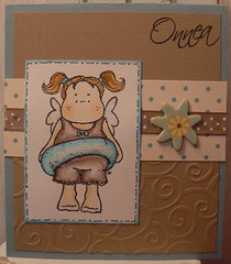 Greeting card with Magnolia stamp