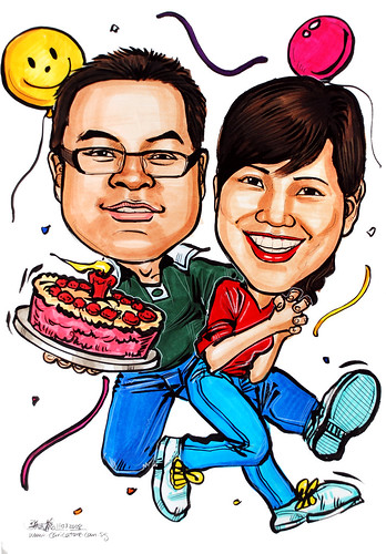 Caricatures couple birthday cake 110308