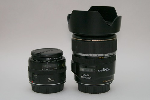 Canon EF 28mm and EF-S 17-85mm IS lenses