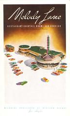 Melody Lane, Los Angeles (jericl cat) Tags: illustration vintage menu restaurant design losangeles boulevard drivein spire western roadside cocktails wilshire melodylane carservice starliteroom waynemcallister