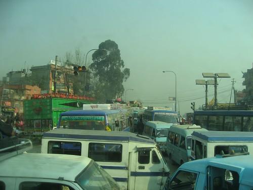 Traffic jam leaving Kathmandu