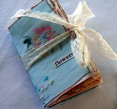 Tiny forget me not book...... (fleamarketstudio) Tags: flowers art collage vintage scrapbooking book diary collageart alteredbook crafty finds artjournal alteredart shabbychic mixedmediaart