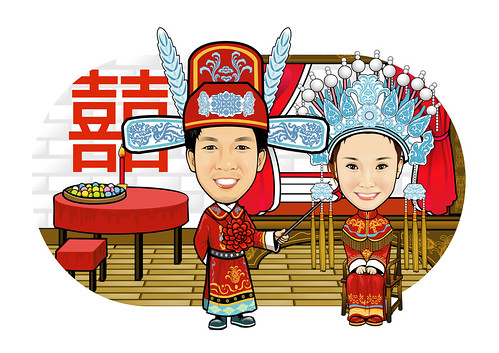 Q-Digital Caricatures couple traditional Chinese wedding 中式婚禮-大抱枕