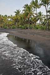 Black Sand at Punaluu Beach (Jeff Clow) Tags: ocean travel trees sea vacation beach nature island hawaii scenery waves getaway sandy shoreline palmtrees tropical remote deserted thebigisland blacksandbeach punaluubeach bej abigfave impressedbeauty jeffrclow