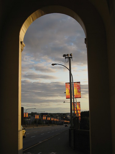 portal at sunset