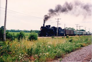 An eastbound steam powered passenger train. The Illinois Railway Museum. Union Illinois. July 1988. by Eddie from Chicago