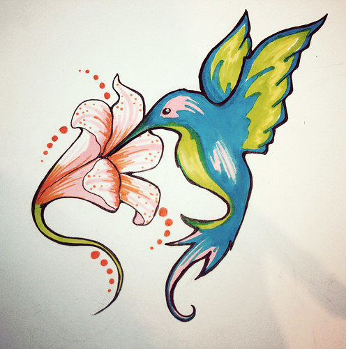 Hummingbird Tattoo Flash