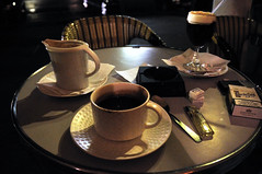 The hot chocolate and the Irish coffee (jmvnoos in Paris) Tags: stilllife white black paris france coffee caf nikon noir terrace chocolate irishcoffee terrasse hotchocolate blanc chocolat naturemorte d300 chocolatchaud jmvnoos