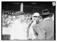 [John McGraw (New York NL) at left, speaking to Jake Stahl (Boston AL) prior to a game of the 1912 World Series at the Polo Grounds, NY, October 1912 (baseball)]  (LOC) (The Library of Congress) Tags: al baseball stadium redsox meeting argument libraryofcongress nl mcgraw bostonredsox worldseries stahl americanleague pologrounds nationalleague johnmcgraw newyorkgiants xmlns:dc=httppurlorgdcelements11 jakestahl 1912worldseries dc:identifier=httphdllocgovlocpnpggbain11753 newyorkbaseballgiants