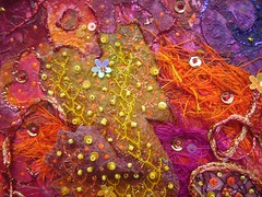 Detail Terre de Feu 2 (Karen Cattoire) Tags: original abstract art texture collage colorful handmade originalart creation fabric fiberart beading fibers textileart tissu abstrait textiledart karencattoire fibretextile arttexilte