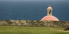 Santa Maria Magdalena de Pazzis Cemetery, San Juan, Puerto Rico (jogorman) Tags: ocean santa blue sea orange green tower water cemetery grass wall de puerto mar san juan puertorico fort maria lawn el atlantic rico dome caribbean carib morro magdalena moro jamesogorman pazzis