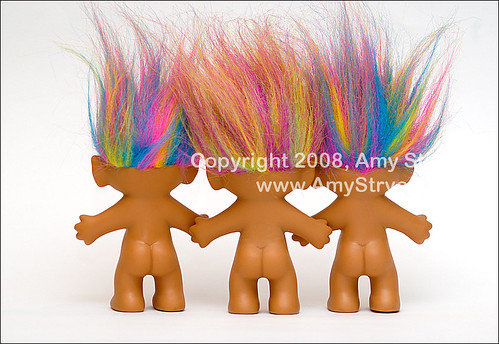 trio of troll dolls from behind a photo on flickriver