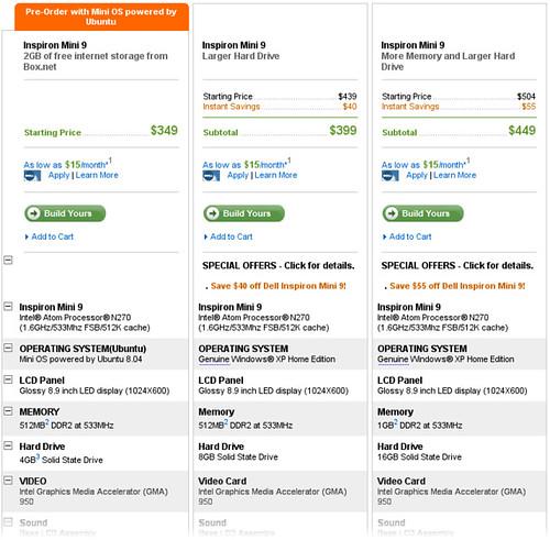 Dell Inspiron Mini 9 prices and configs