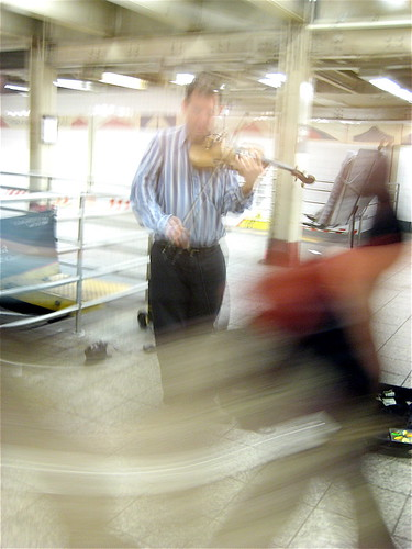 Busker in the Rush Hour - New York subway