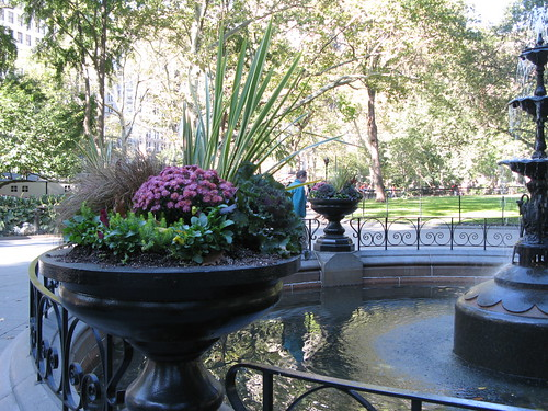 Closer look at a planter at Madison Square Park