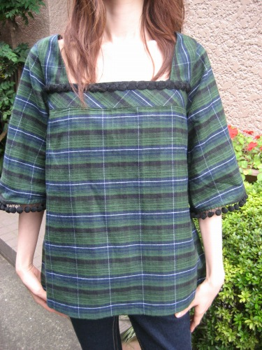 PLAID POMPOM TUNIC from Milk Fed